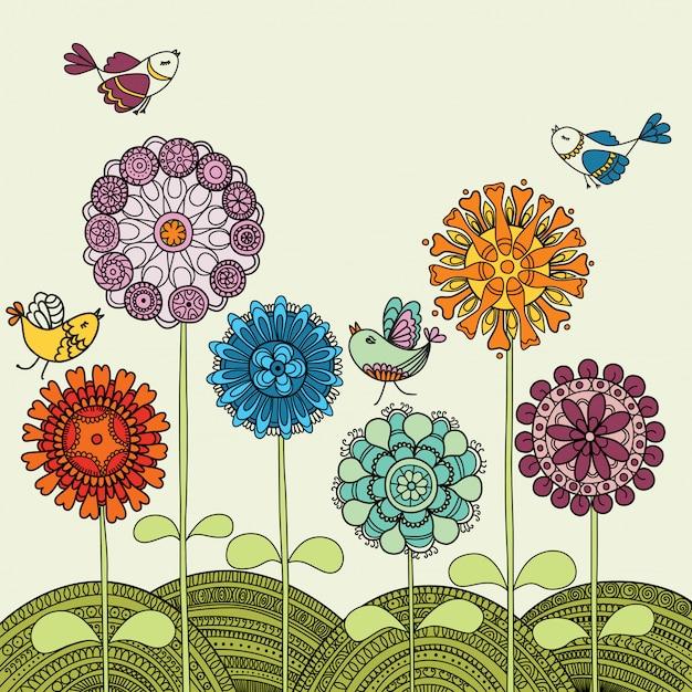 色とりどりの花と飛んでいる鳥 Premiumベクター