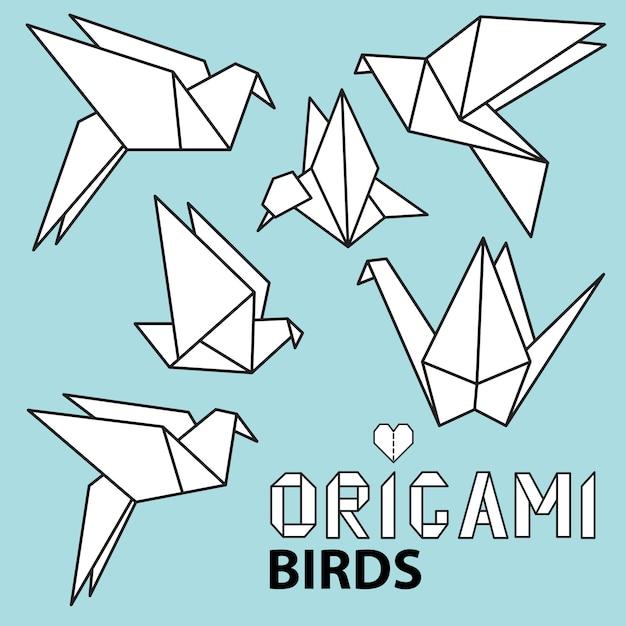 折り紙の鳥とかわいいコレクション。ベクトルを設定 Premiumベクター