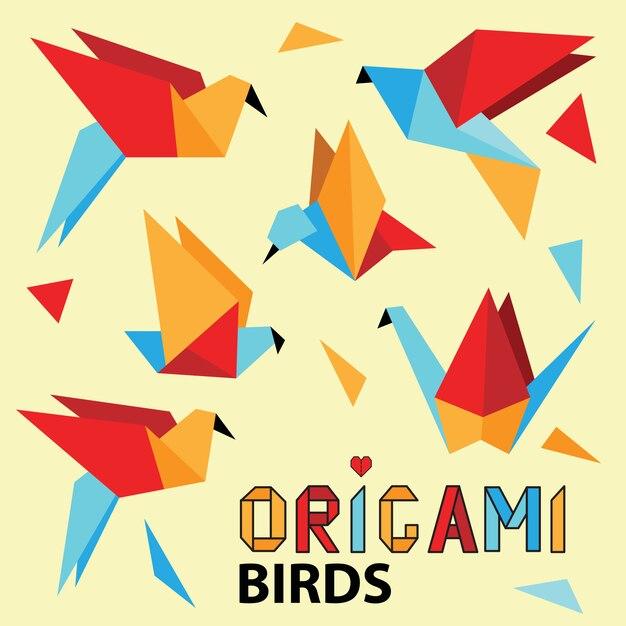 カラフルな折り紙の鳥とかわいいコレクション。 Premiumベクター