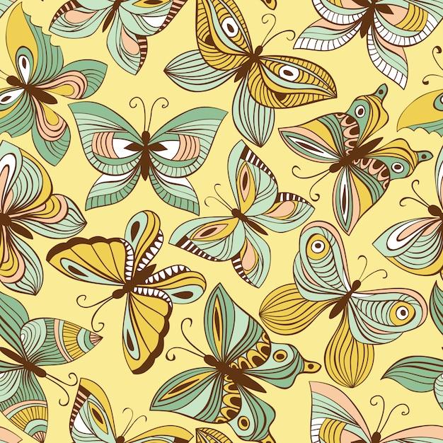 Бесшовный узор вектор с бабочками Premium векторы