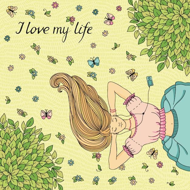 芝生の上に横たわる少女とベクトル図です。 Premiumベクター