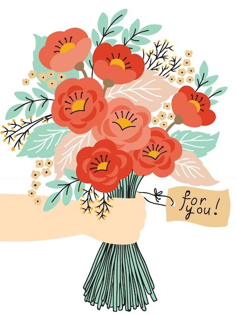 美しい花の花束 Premiumベクター