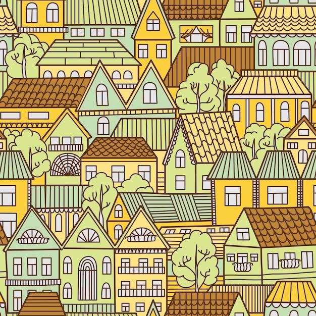 家と木とのシームレスなパターン背景 Premiumベクター