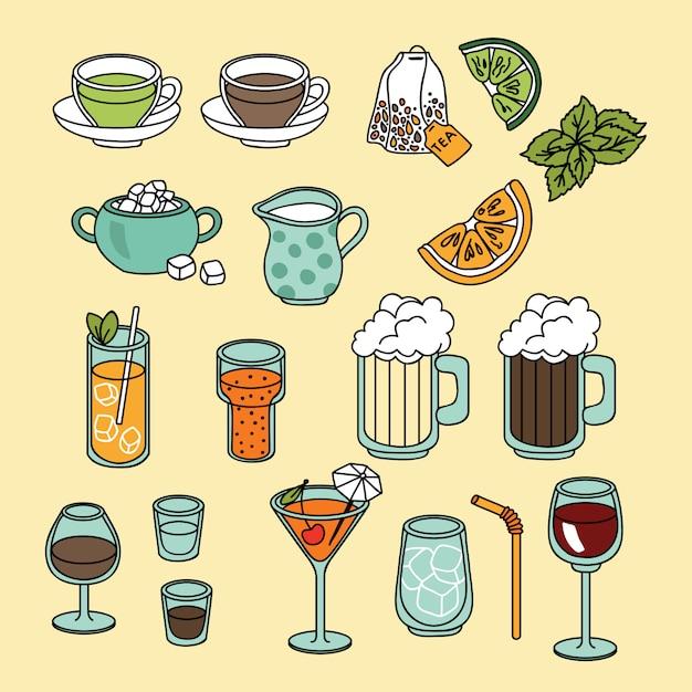 飲み物と飲み物のアイコンを設定 Premiumベクター