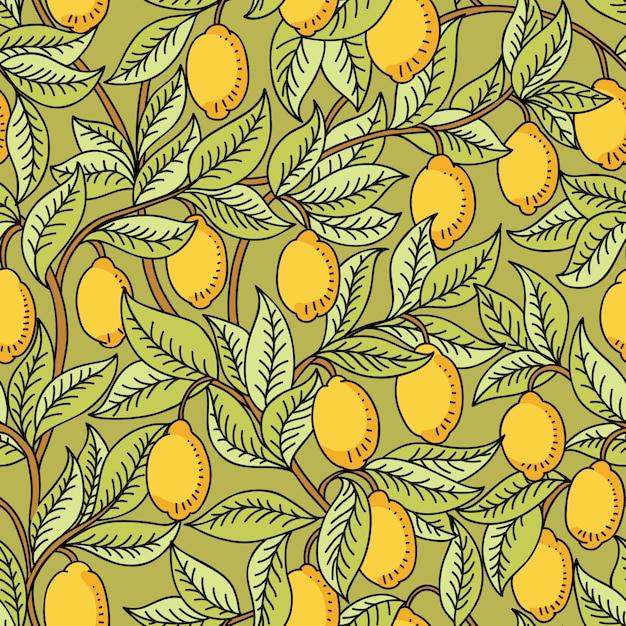 レモンとシームレスなパターンベクトル Premiumベクター