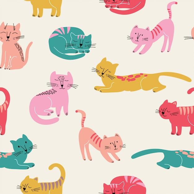 Симпатичные бесшовные модели с красочными кошками Premium векторы