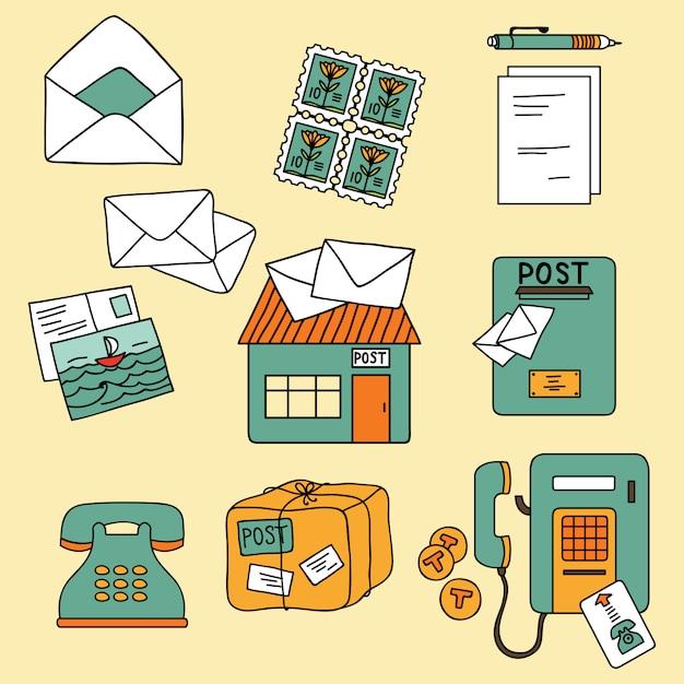 漫画のスタイルで設定された郵便要素 Premiumベクター