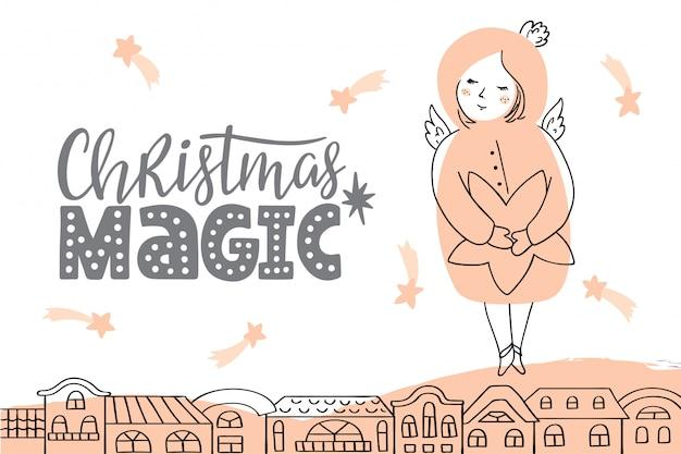 レタリングと天使のベクトルクリスマスカード。 Premiumベクター