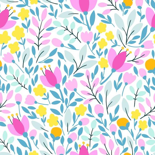 花とエレガントなシームレスパターン Premiumベクター