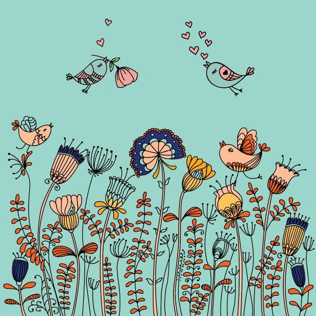花の周りを飛んでいる鳥のイラスト Premiumベクター