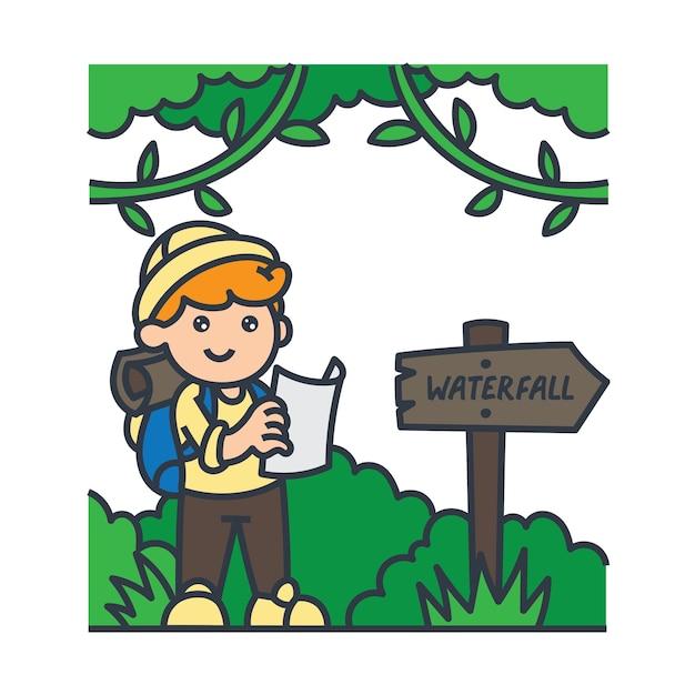 Мальчик в лесу Premium векторы