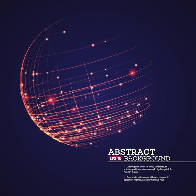 点と曲線で球ワイヤフレームを作成 Premiumベクター