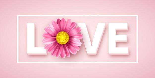 ピンクのデイジーの花とタイポグラフィが大好きです。ベクトル図 Premiumベクター
