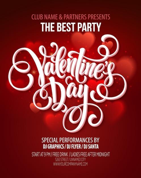 バレンタインパーティーフライヤーやポスターテンプレート Premiumベクター