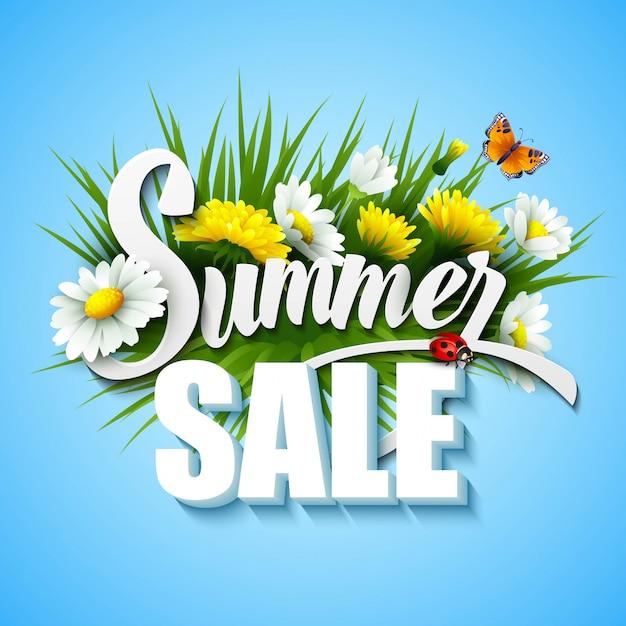 Летняя и весенняя распродажа шаблон иллюстрации Premium векторы