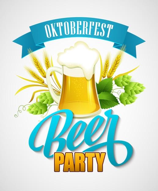 Октоберфест фон с пивом. Premium векторы
