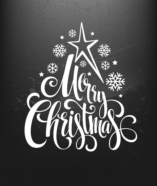 レタリング、グリーティングカードとチョークボード上のクリスマスの装飾 Premiumベクター