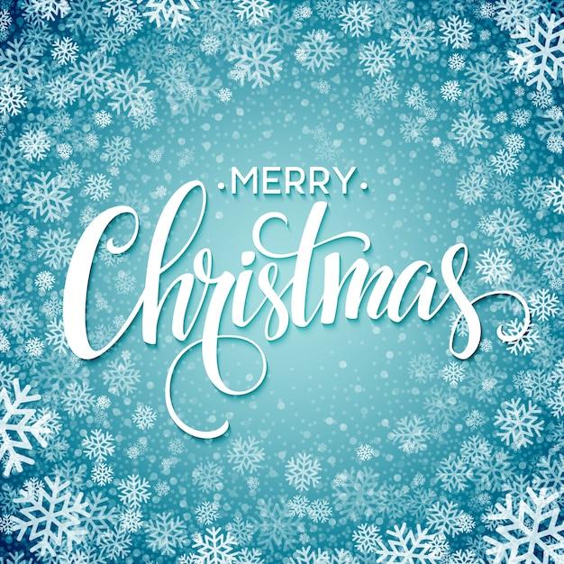 雪の結晶、グリーティングカードとメリークリスマスの手書きテキスト Premiumベクター