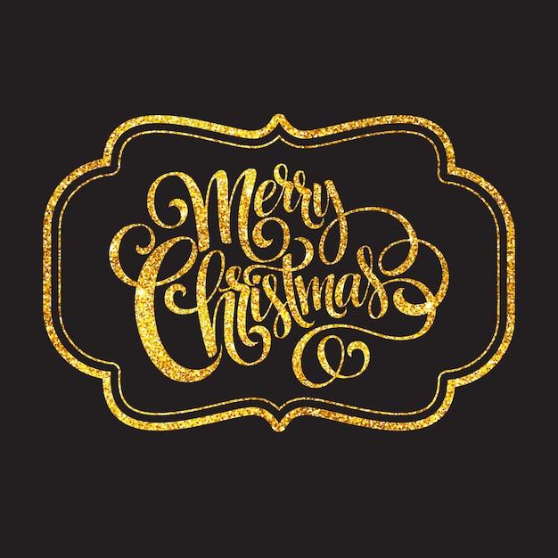 メリークリスマスゴールドきらびやかなレタリングデザイン、グリーティングカード Premiumベクター