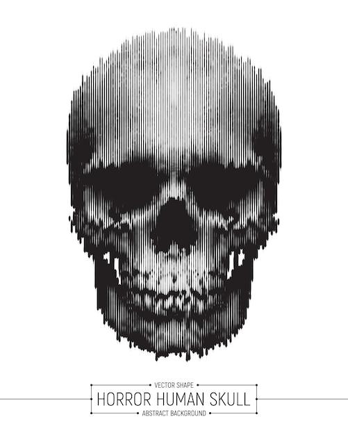 Вектор человеческий ужас череп арт-постер Premium векторы