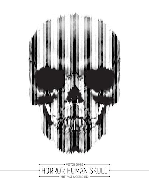 人間の頭蓋骨ホラーアートイラスト Premiumベクター