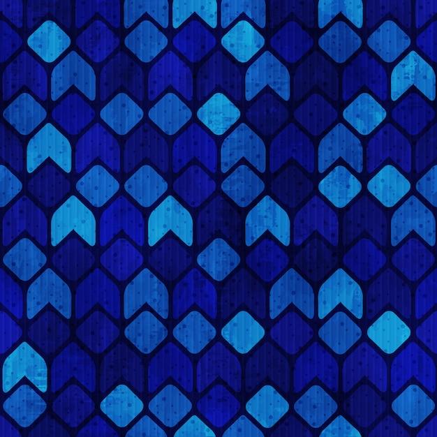 青いファンキーなレトロなシームレスパターンベクトル Premiumベクター