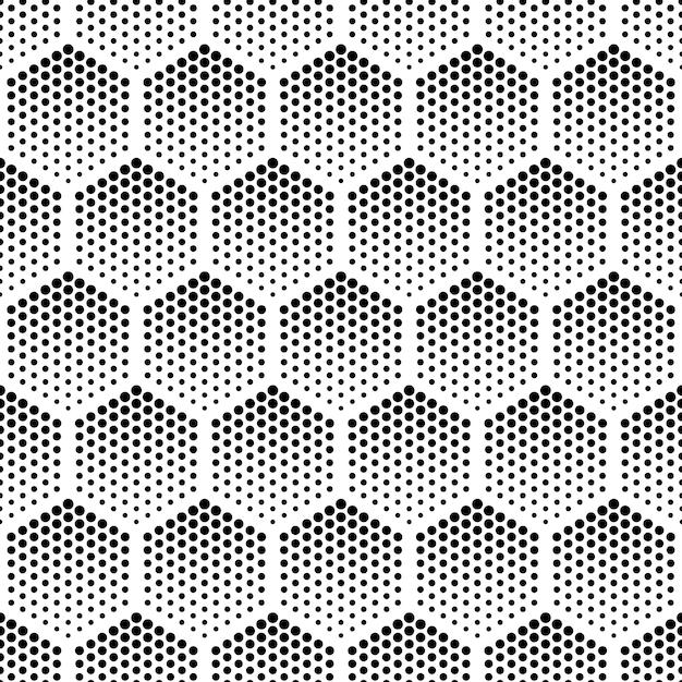 ハーフトーン六角形ベクトルシームレスパターン Premiumベクター