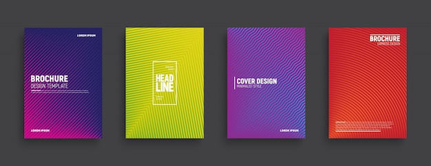 Минималистский дизайн цветные брошюры Premium векторы