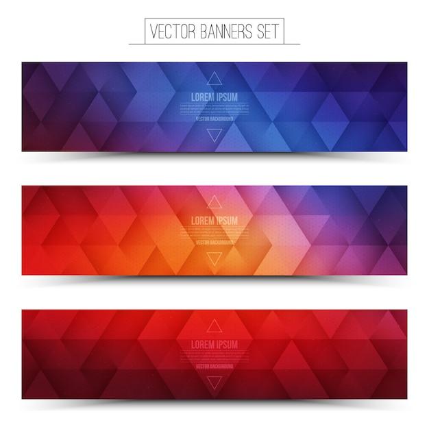 ベクトルレトロウェーブバナーセット Premiumベクター