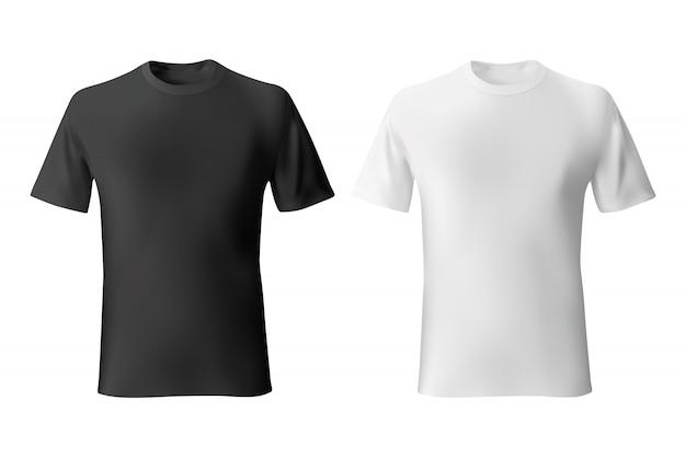 Черно-белая мужская футболка шаблон реалистично Premium векторы