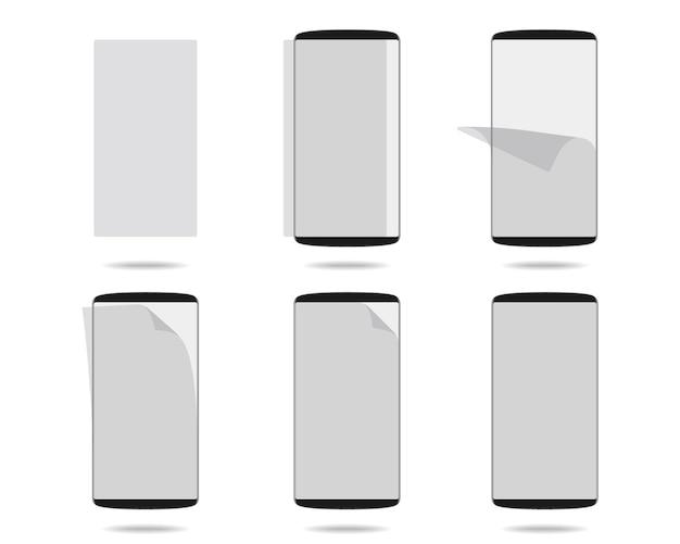 さまざまな段階で設定された保護ガラス付きの黒いスマートフォンのディスプレイ Premiumベクター