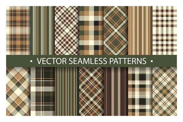 格子縞のシームレスパターンを設定します。タータンパターンの生地のテクスチャ。 Premiumベクター