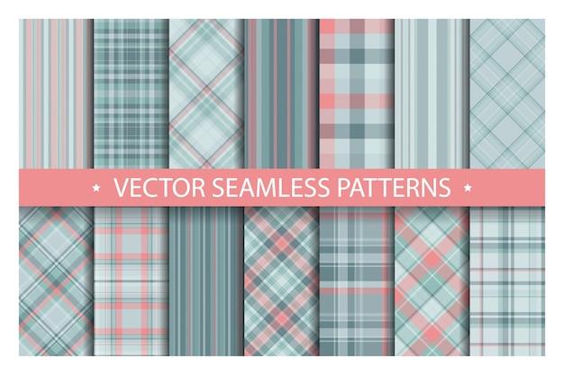 シームレスな格子縞のパターン、タータンパターンファブリックテクスチャ背景、スコットランドのストライプブランケットを設定します。 Premiumベクター