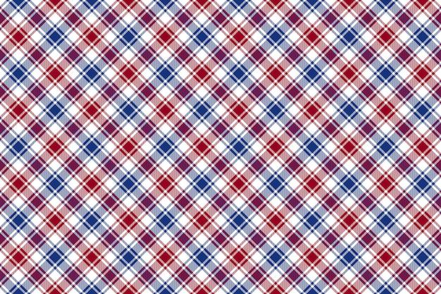 赤青白斜めチェックテクスチャのシームレスなパターン背景 Premiumベクター