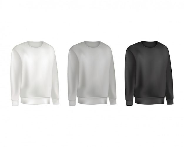 Комплект мужской одежды из толстовок и реглана-свитера серо-черного цвета. Premium векторы