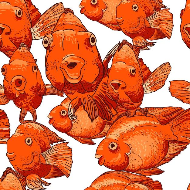 魚とのシームレスな背景 Premiumベクター