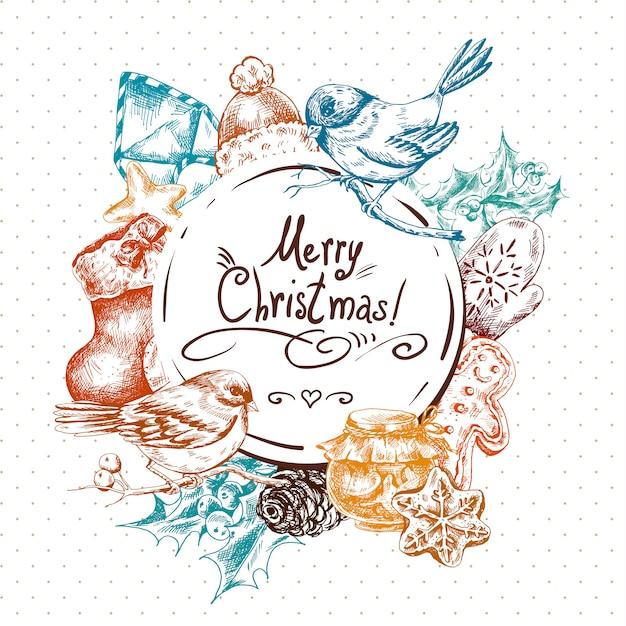 冬手描きクリスマスの要素を持つグリーティングカード Premiumベクター