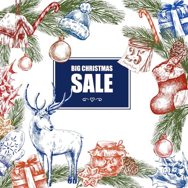 大きなクリスマスセール、ビンテージベクトル図 Premiumベクター