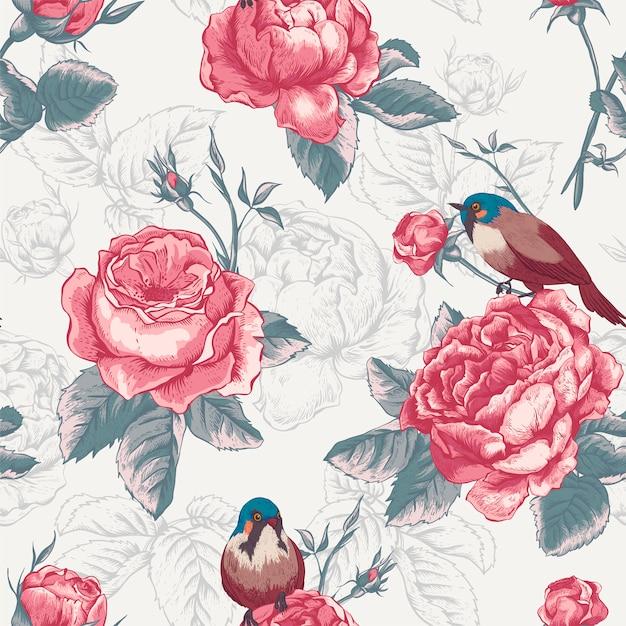 Ботанический цветочный бесшовный узор с розами и птицами Premium векторы