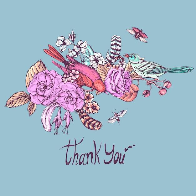 ありがとうございます手描きベクトルグリーティングカード Premiumベクター