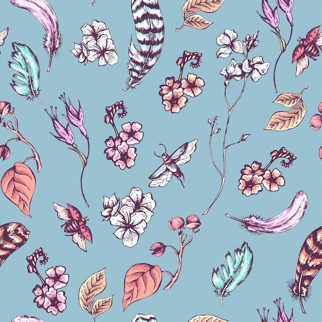Винтажный бесшовный фон с цветами, жуками и перьями Premium векторы