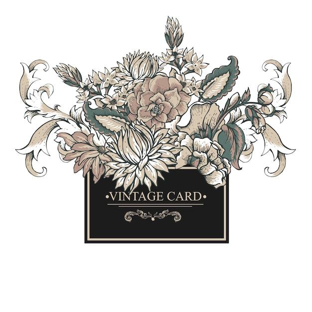 まんじ、花とビンテージバロックグリーティングカード Premiumベクター