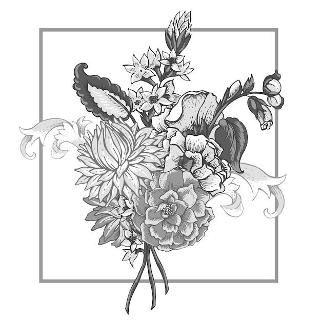まんじとビンテージ花の花束 Premiumベクター