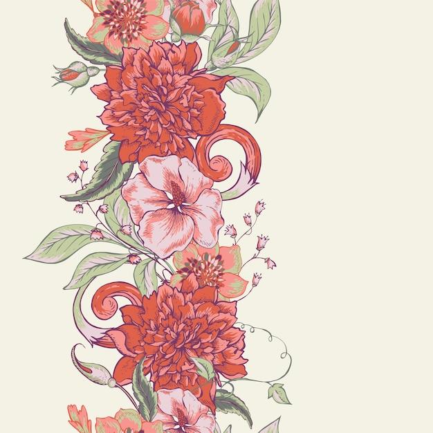 Старинные ботанические бесшовные модели границы с цветущими пионами Premium векторы