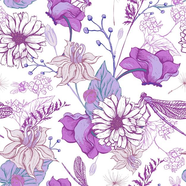 ビンテージガーデン花のシームレスパターン Premiumベクター