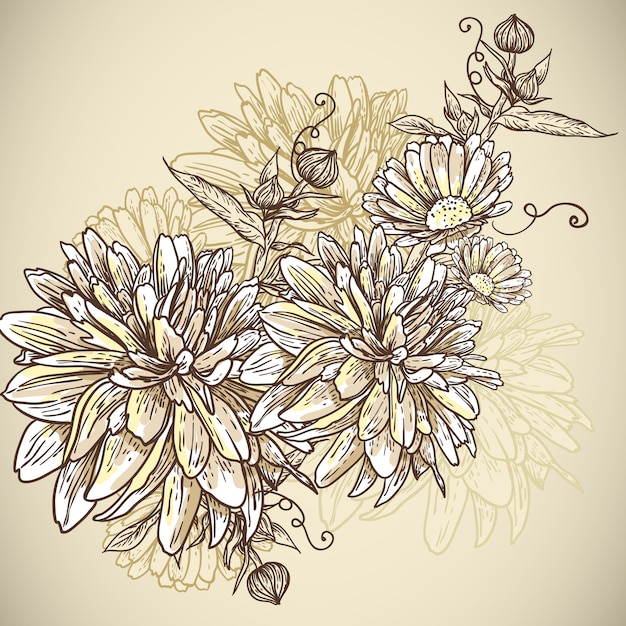 咲く花と花の背景 Premiumベクター
