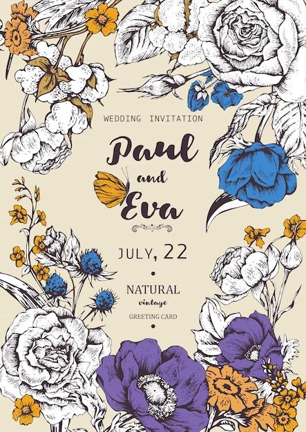 アネモネとバラの花輪を持つ結婚式の招待状 Premiumベクター