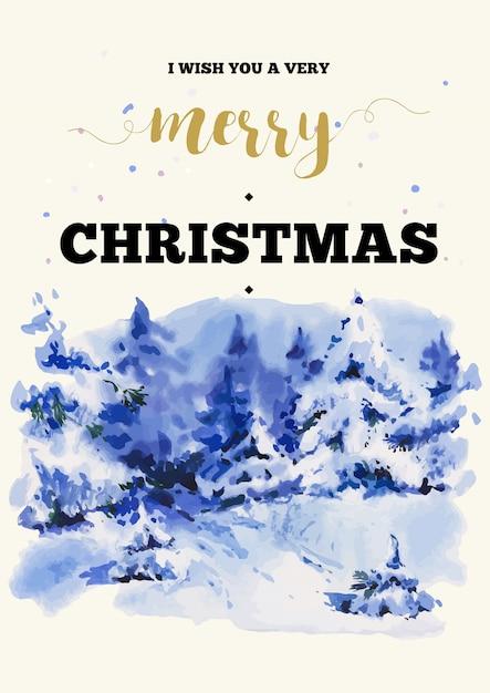 冬の風景の挨拶とクリスマス垂直フレームカード Premiumベクター