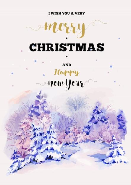 冬の風景とメリークリスマスと新年あけましておめでとうございますイラストグリーティングカード Premiumベクター