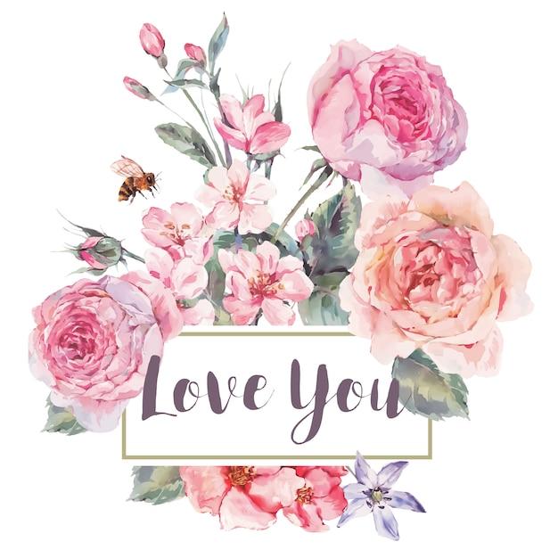バラの花束と春ビンテージ花グリーティングカード Premiumベクター